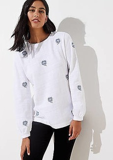 LOFT Floral Embroidered Sweatshirt
