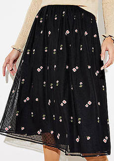 LOFT Floral Embroidered Tulle Skirt