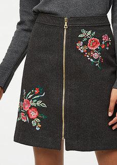 LOFT Floral Embroidered Zip Skirt