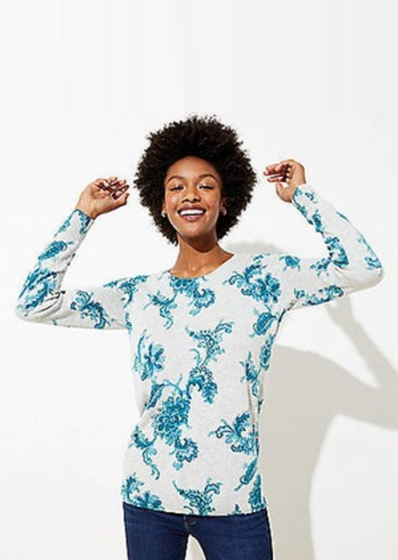 LOFT Floral Essential Round Neck Sweater