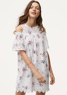 Floral Eyelet Cold Shoulder Dress