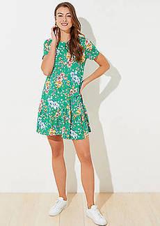 LOFT Floral Flounce Dress