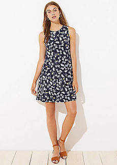 LOFT Floral Flounce Sleeveless Swing Dress
