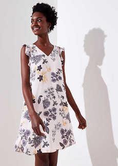 LOFT Floral Flutter Shirttail Dress
