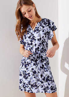 Floral Flutter Split Neck Dress