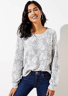LOFT Floral Jacquard Banded Sweatshirt