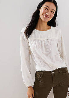 LOFT Floral Jacquard Pintucked Yoke Blouse