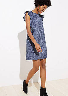 LOFT Floral Jacquard Ruffle Swing Dress