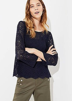 LOFT Floral Lace Button Back Top