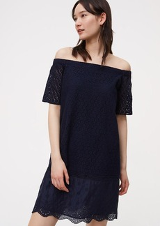 LOFT Floral Lace Off the Shoulder Dress