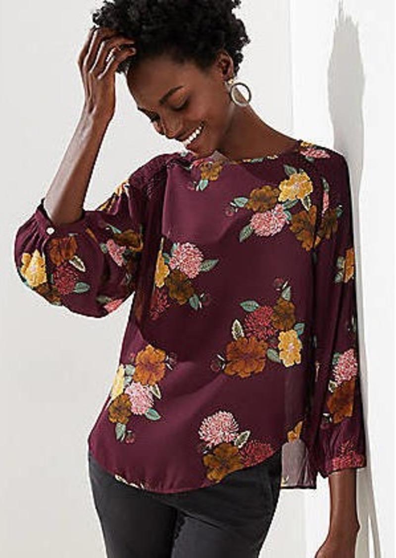 LOFT Floral Lacy Smocked Shoulder Blouse