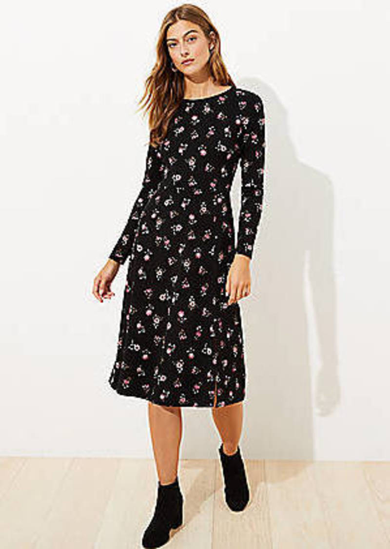 LOFT Floral Long Sleeve Midi Dress