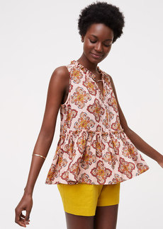 LOFT Floral Medallion Shirred Peplum Shell