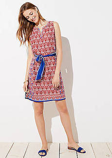 LOFT Floral Mosaic Tie Waist Dress
