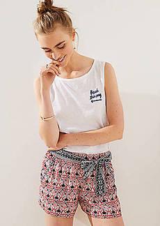 LOFT Floral Mosaic Tie Waist Fluid Shorts