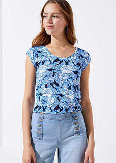 LOFT Floral Paisley Linen Shirttail Tee