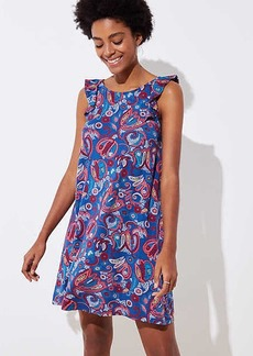 LOFT Floral Paisley Ruffle Swing Dress
