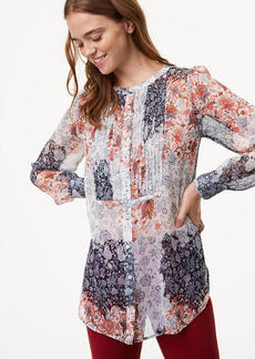 Floral Patchwork Pintuck Blouse