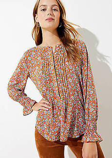 LOFT Floral Pintucked Henley Blouse