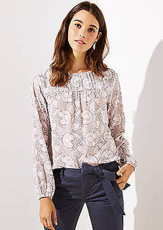 LOFT Floral Pintucked Yoke Blouse