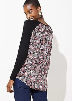 LOFT Floral Pleat Back Mixed Media Top