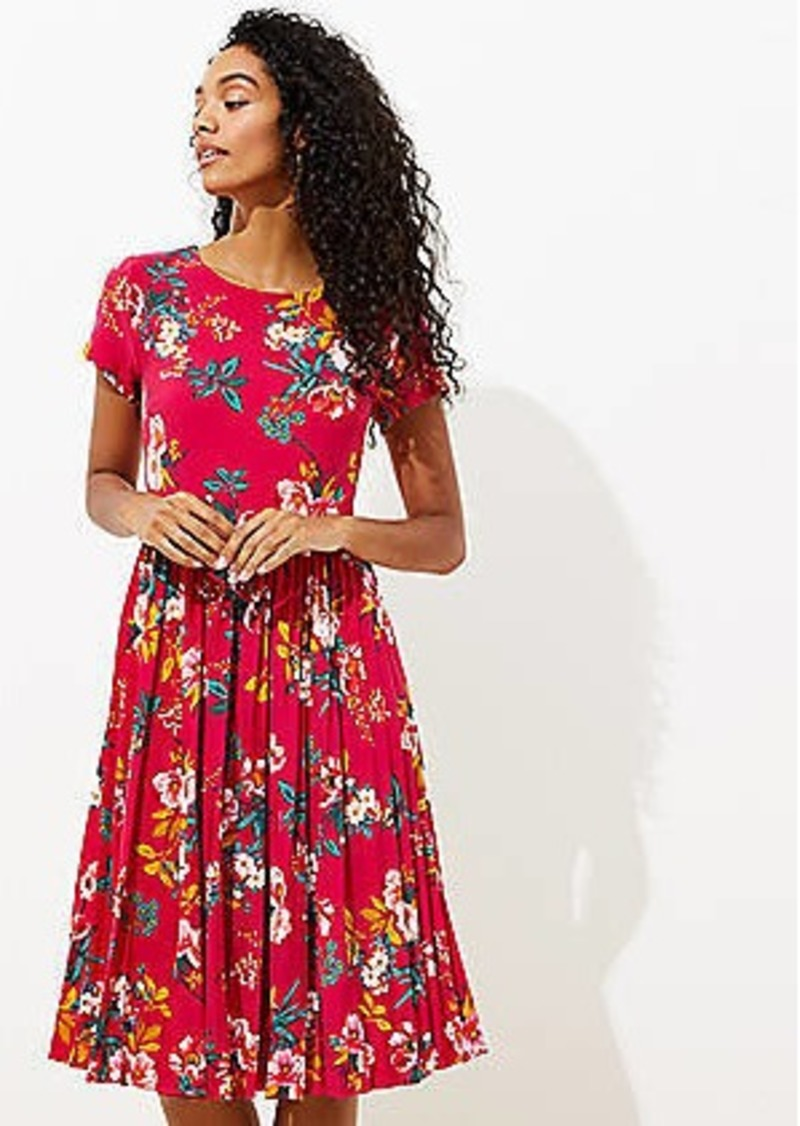 LOFT Floral Pleated Flare Dress
