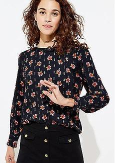 LOFT Floral Pleated Shoulder Blouse