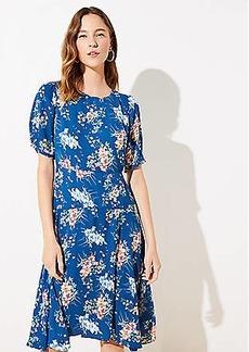 LOFT Floral Puff Sleeve Midi Dress