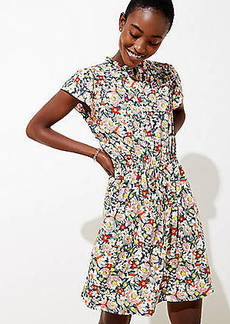 LOFT Floral Ruffle Drawstring Dress