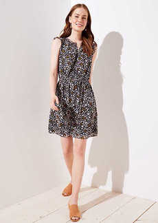 LOFT Floral Ruffle Henley Dress