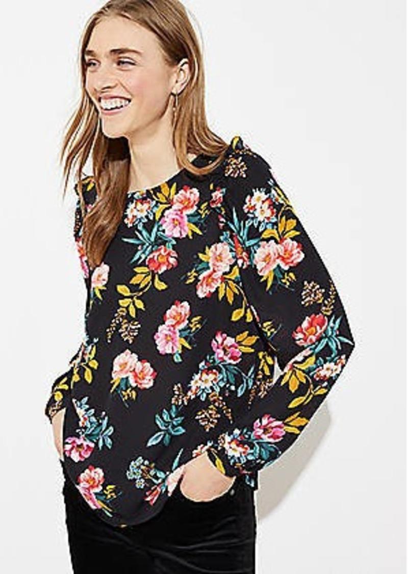 LOFT Floral Ruffle Shoulder Bar Back Blouse