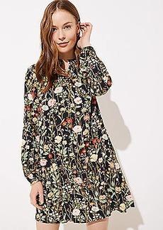 LOFT Floral Ruffle Split Neck Dress