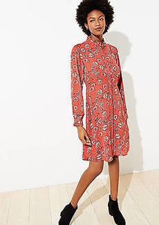 LOFT Floral Ruffle Trim Shirtdress