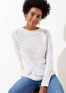 LOFT Floral Ruffled Mock Neck Tee