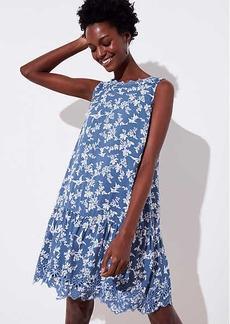 LOFT Floral Eyelet Flippy Dress