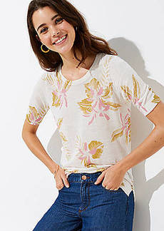 LOFT Floral Short Sleeve Sweater