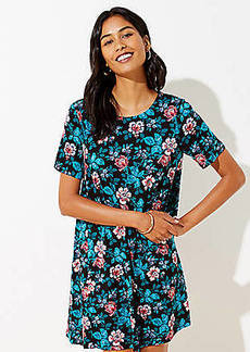 LOFT Floral Short Sleeve Swing Dress