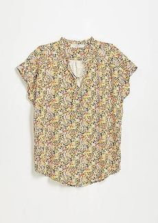 LOFT Floral Shoulder Ruffle Mixed Media Top