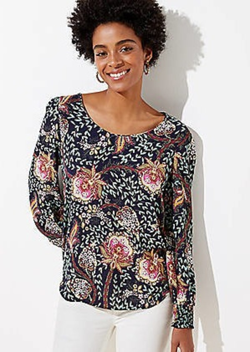 LOFT Floral Smocked Cuff Blouse