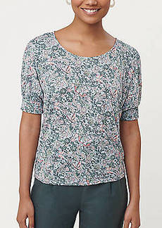 LOFT Floral Smocked Cuff Top