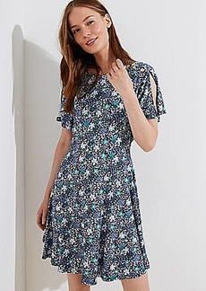 LOFT Floral Split Flutter Sleeve Dress
