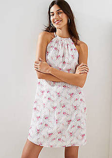 LOFT Floral Sprinkle Halter Swing Dress