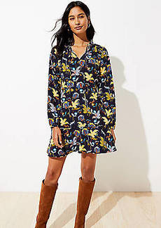 LOFT Floral Tie Neck Flare Dress