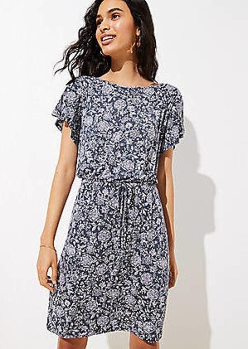 LOFT Floral Tie Waist Flare Dress