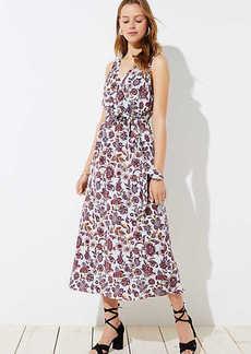 LOFT Floral Tie Waist Maxi Dress