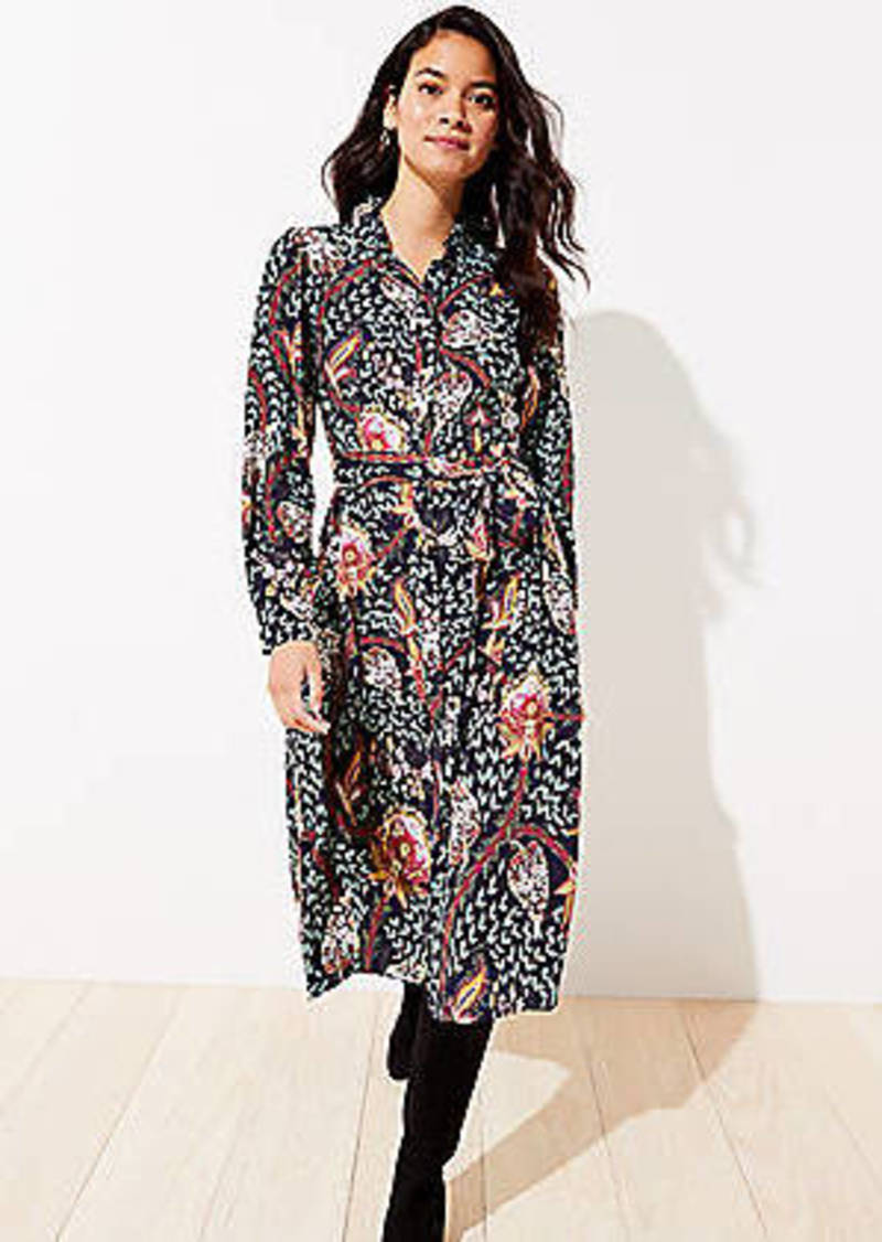 LOFT Floral Tie Waist Midi Shirtdress