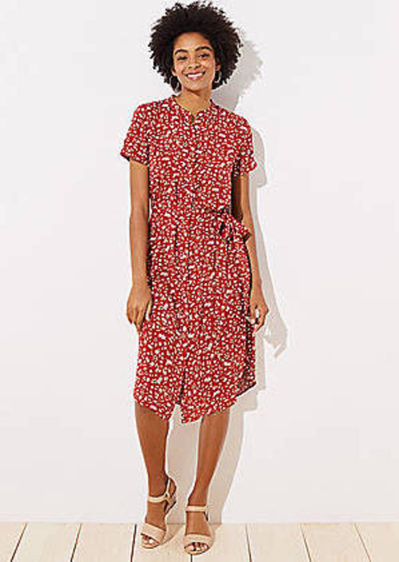 LOFT Floral Tie Waist Shirtdress