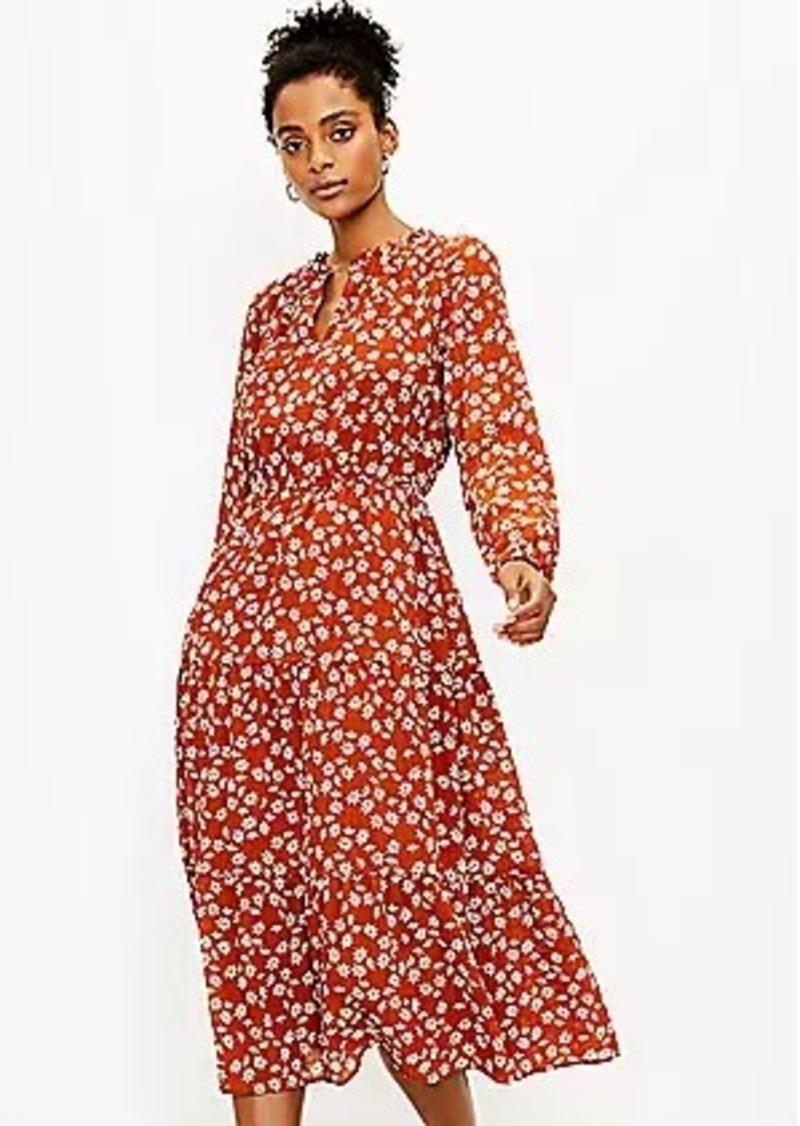 LOFT Floral Tiered Midi Dress