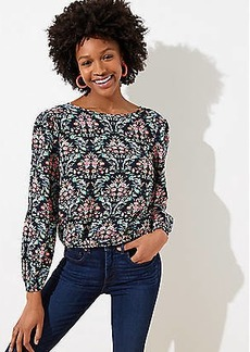 LOFT Floral Trellis Wrap Back Top