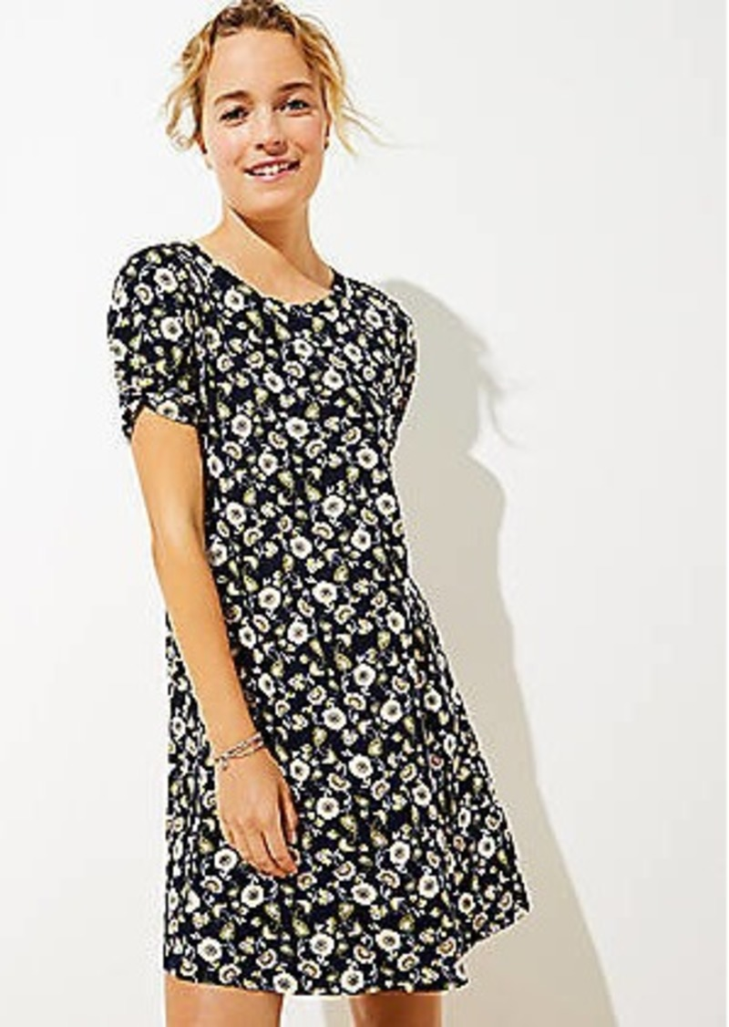 LOFT Floral Twist Sleeve Swing Dress